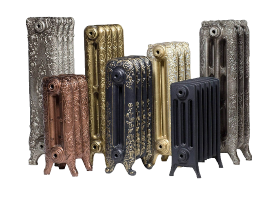 чугунные радиаторы разного размера с росписью