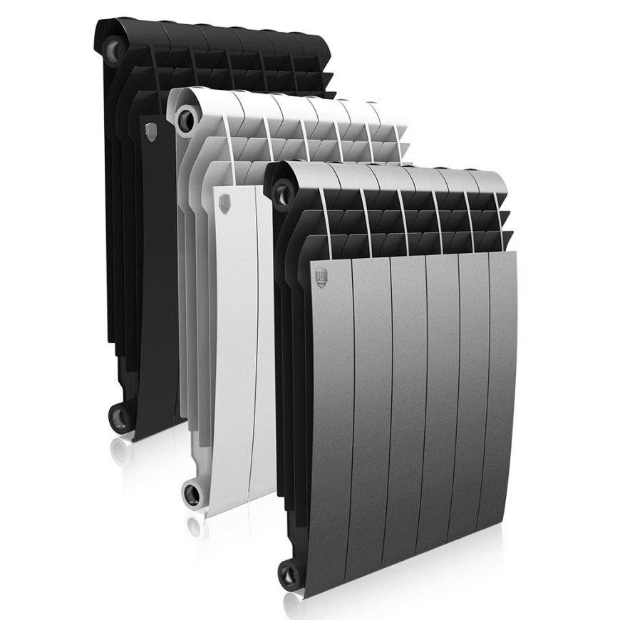 секционные биметаллические радиаторы разных цветов