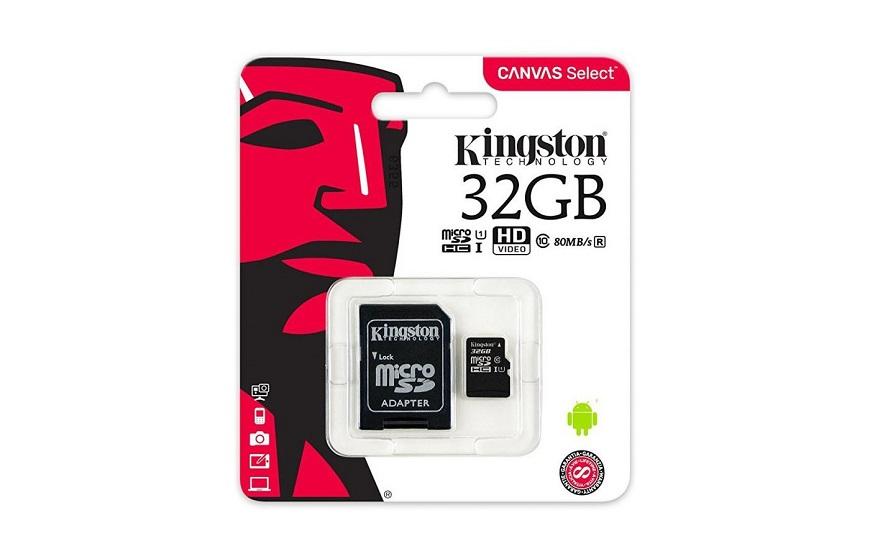 Kingston Canvas Select microSDHC Class 10 UHS-I U1 32GB относительно недорогая модель